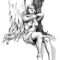 Kobieta anioł ze skrzydłami wzór