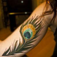 Pawie pióro tatuaż ręka