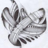 Biomechanika 3D tatuaż wzór