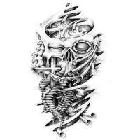 Tatuaż biomechanika wzór z twarzą
