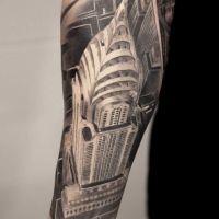 Budynek tatuaż na ręce