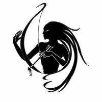 Czarna postać z łukiem