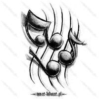 Czarne nutki wzór na tatuaż