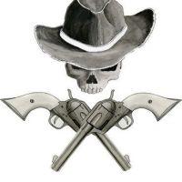 Czaszka w kapeluszu i dwa pistolety