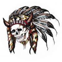 Czaszka Indianin wzór tatuażu