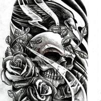 Czaszka ptak i kwiaty wzór tatuażu