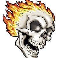 Czaszka w płomieniach wzór tatuażu
