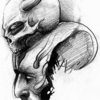 Czaszka z rogami i potwór tatuaż wzór