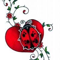 Czerwone sece i biedronka wzór tatuażu