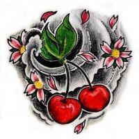 Czerwone wisienki i kwiatki wzór