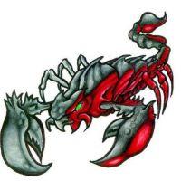 Czerwono-czarny skorpion wzór tatuażu