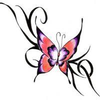Czerwony motyl tribal tatuaż
