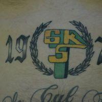 Data i logo Górnik Łęczna tatuaż