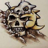 Mały dinozaur i czaszka wzór tatuażu