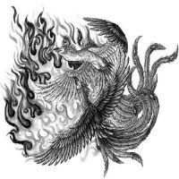Dwa feniksy w płomieniach