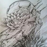 Dwa lotosy i czaszka wzór tatuażu