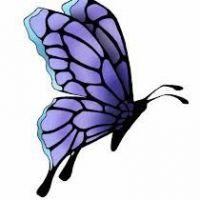 Fioletowy motyl tatuaż wzór