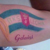 Flaga Lechia Gdańsk tatuaż