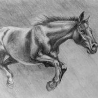 Galopujący koń wzór tatuażu