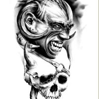 Głowa diabła i czaszka wzór tatuażu