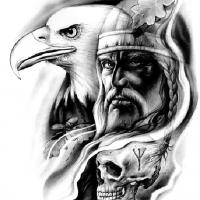 Głowa ptaka wikinga i czaszka