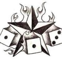 Gwiazda i kości do gry wzór tatuażu