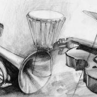 Instrumenty muzyczne wzór tatuażu