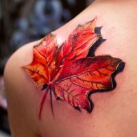 Jesienny liść 3D tatuaż