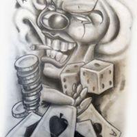 Karty i kości do gry wzór tatuażu