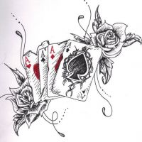 Karty i róże wzór tatuażu