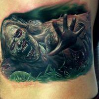 Kolorowy tatuaż z zombi