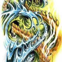 Kolorowy wzór tatuażu biomechanika