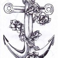 Kotwica z różami wzór tatuażu