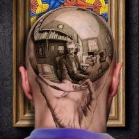 Kula z postacią i książkami tatuaż