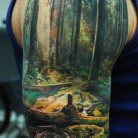 Leśna sceneria tatuaż