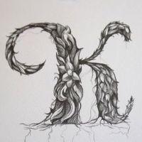 Litera K wzór tatuażu