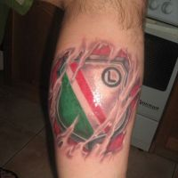 Logo Legia Warszawa tatuaż
