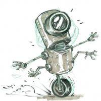 Mały robot na jednym kole