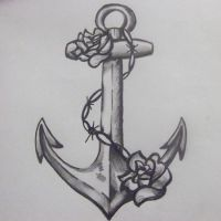 Marynarski wzór tatuażu kotwica