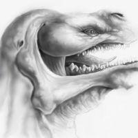 Monster z zębami wzór tatuażu