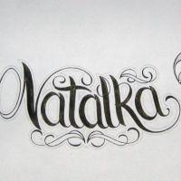 Napis Natalka wzór tatuażu