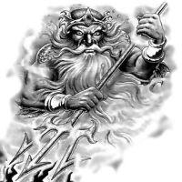 Neptun bóg tatuaż wzór
