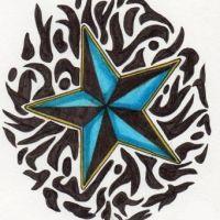 Niebieska gwiazda i tribal