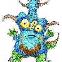 Niebieski monster z oczami wzór