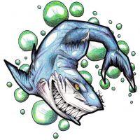 Niebieski rekin wzór tatuażu