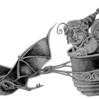 Nietoperz ciągnący kubek wzór tatuażu