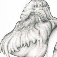 Obrzydliwy monster tatuaż wzór
