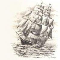 Ogromny statek na morzu wzór tatuażu