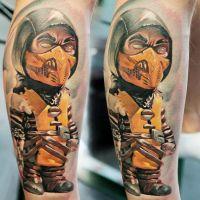Wojownik w masce tatuaż postacie
