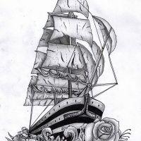 Piracki statek wzór tatuażu